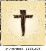 grunge cross christian | Shutterstock . vector #91851506