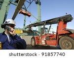 port worker in hardhat ... | Shutterstock . vector #91857740