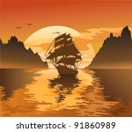 vintage sailboat sailing at... | Shutterstock .eps vector #91860989