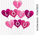 i love you balloon card in... | Shutterstock .eps vector #91865825