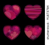 four pink hearts for valentine... | Shutterstock .eps vector #91873784