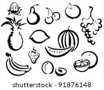 fruits symbols collection, sketch in simple black lines - stock vector