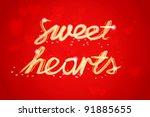 sweet hearts banner | Shutterstock .eps vector #91885655