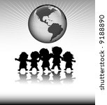 kids and planet earth  happy... | Shutterstock .eps vector #9188890
