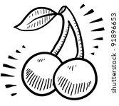 Doodle style fresh, juicy cherries illustration in vector format - stock vector