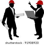 businessmen with hardhat... | Shutterstock .eps vector #91908920