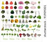 80 Tree Graphic Design Element...