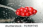 Fresh Cranberries In Spoon Wit...