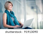 pretty young female student... | Shutterstock . vector #91913090