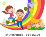 kids and rainbow | Shutterstock .eps vector #91916105