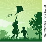 girl and boy launching a kite... | Shutterstock .eps vector #91916738