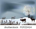 winter landscape with deers... | Shutterstock .eps vector #91922414