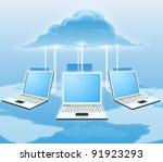 A conceptual cloud computing illustration. Laptops connected to the cloud with a world map in the background. - stock vector