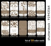 Set Of Ten Colorful Autumn Cards