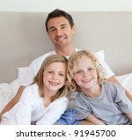 father sitting on bed together... | Shutterstock . vector #91945700