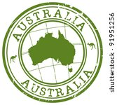 stamp with map of australia | Shutterstock .eps vector #91951256