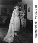 on her wedding day   Shutterstock . vector #91957718