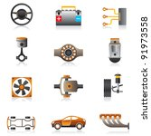 parts of the car engine  ... | Shutterstock .eps vector #91973558