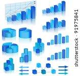 blue diagrams set | Shutterstock .eps vector #91975841