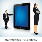 Vector illustration of a Tablet device with two business people