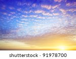 View of a spectacular sky at sunset time - stock photo