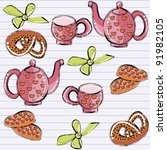 seamless pattern with with a tea-set and baking - stock vector