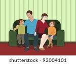 family sitting in the living... | Shutterstock . vector #92004101