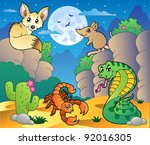desert scene with various... | Shutterstock .eps vector #92016305