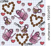 Seamless pattern with cups, teapots and coffee - stock vector