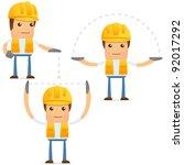 set of funny cartoon builder in ...   Shutterstock .eps vector #92017292