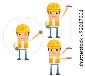 set of funny cartoon builder in ...   Shutterstock .eps vector #92017331
