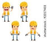 set of funny cartoon builder in ...   Shutterstock .eps vector #92017403