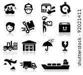 icons set shipping and delivery | Shutterstock .eps vector #92021411
