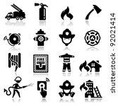 icons set firefighter | Shutterstock .eps vector #92021414