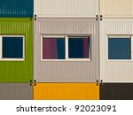 Apartments in cargo containers in many colors - stock photo