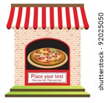 vector of pizza restaurant with signs on door and in front, ready for your text