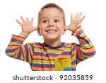 funny smiling little children ... | Shutterstock . vector #92035859