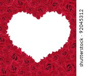 Framework from the red roses in the form of the heart - stock photo