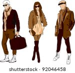 vector sketch of fashionable... | Shutterstock .eps vector #92046458