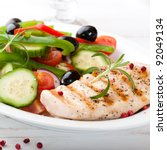grilled chicken breast with...   Shutterstock . vector #92049134