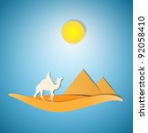 desert with camel paper cut... | Shutterstock .eps vector #92058410
