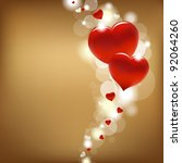 2 hearts and valentin's day card | Shutterstock . vector #92064260