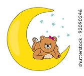 bear lying on the moon | Shutterstock .eps vector #92090246