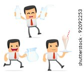 set of funny cartoon manager in ... | Shutterstock .eps vector #92092253