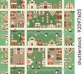 seamless map of city | Shutterstock .eps vector #92097605