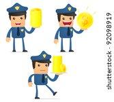 set of funny cartoon policeman...   Shutterstock .eps vector #92098919