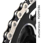 Bike Chain on the Front Chainring - stock photo