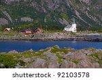 Picturesque village of Vestpollen on Lofoten islands in Norway - stock photo