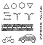 set symbol traffic signs and... | Shutterstock . vector #92105183