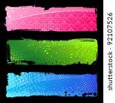 set grunge colour hand banners. ...   Shutterstock . vector #92107526